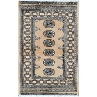 Pakistani Hand-knotted Bokhara Tan/ Black Wool Rug (2'7 x 4'1)