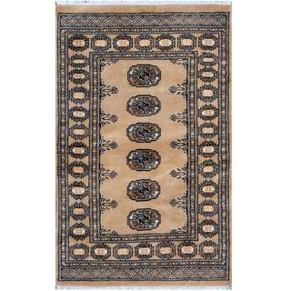 Pakistani Hand-knotted Bokhara Tan/ Black Wool Rug (2'7 x 4'3)