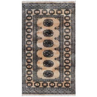 Pakistani Hand-knotted Bokhara Tan/ Black Wool Rug (2'6 x 4'3)
