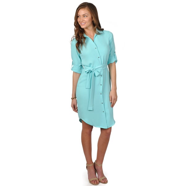 Calvin Klein Women's Belted Roll Sleeve Shirt Dress