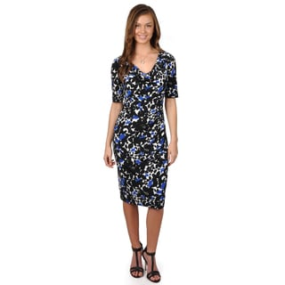 Jessica Howard Women's Print Drape Neck Dress