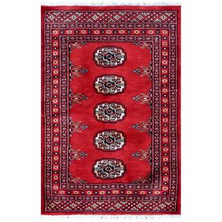Pakistani Hand-knotted Bokhara Red/ Black Wool Rug (2' x 3')