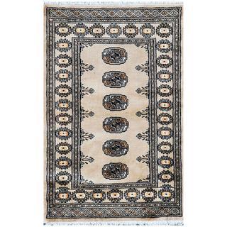 Pakistani Hand-knotted Bokhara Tan/ Beige Wool Rug (2'7 x 4')