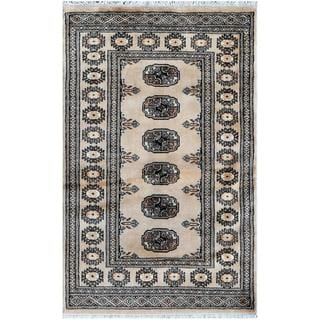 Pakistani Hand-knotted Bokhara Tan/ Beige Wool Rug (2'6 x 4')