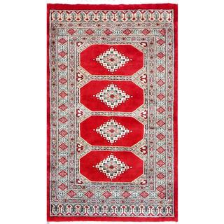 Pakistani Hand-knotted Bokhara Red/ Ivory Wool Rug (2'7 x 4'3)