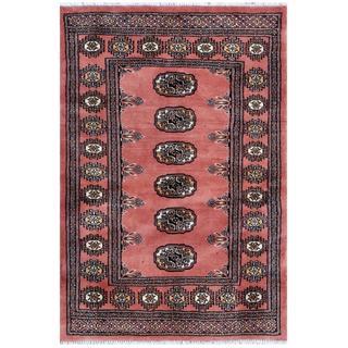 Pakistani Hand-knotted Bokhara Salmon/ Ivory Wool Rug (2'8 x 3'10)