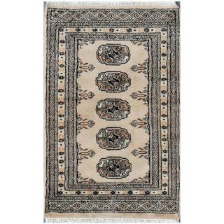Pakistani Hand-knotted Bokhara Tan/ Black Wool Rug (2' x 3')