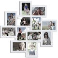 12-opening White Wood Wall Hanging Picture Frame