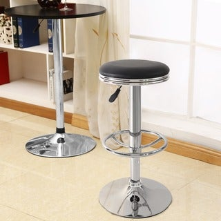 Adeco Black Faux Leather Upholstery Bar Stool (Set of 2)