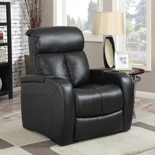 At Home Designs 'Voyager' Rich Raven Black Leather Recliner