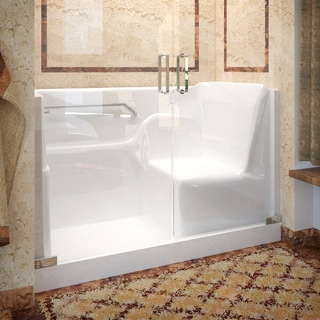 Mountain Home 30x60 Left Drain Seated Shower with Swinging Glass Doors
