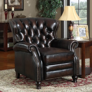 At Home Designs Manhattan Antique Bronze Leather Classic Recliner