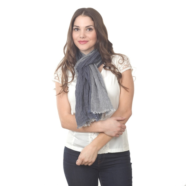 Navy Blue Frayed Linen Scarf