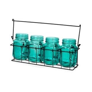 Blue Decorative Mason Jar Set and Caddy