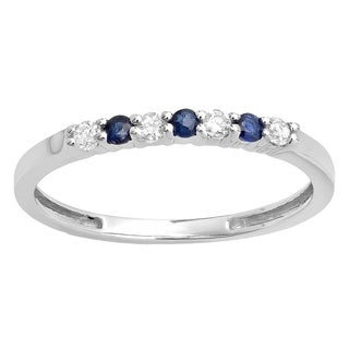 14k White Gold 1/4ct TDW White Diamond/ Blue Sapphire Anniversary Band
