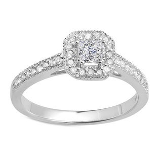 14k White Gold 1/2ct TDW Halo Engagement Ring (H-I, I1-I2)