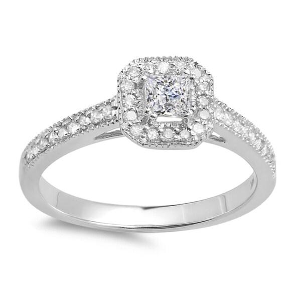 14k Gold 1/2ct TDW Halo Engagement Ring (H-I, I1-I2)