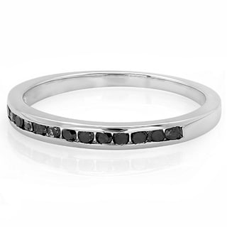 Sterling Silver Black Round Real Diamond Wedding Anniversary Stackable Band Ring