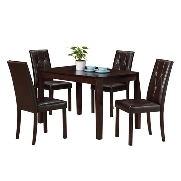 Monarch Dark Brown Leather-look Dining Chair (Set of 2)