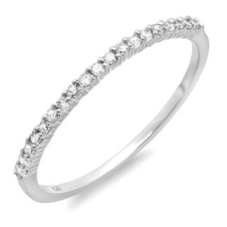 14k White Gold 1/6ct TDW Diamond Dainty Thin Wedding Band (I-J, I2-I3)