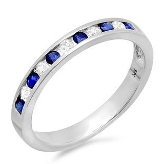 10k White Gold 1/5ct Diamond/ Blue Sapphire Stackable Anniversary Wedding Band (I-J, I2-I3)