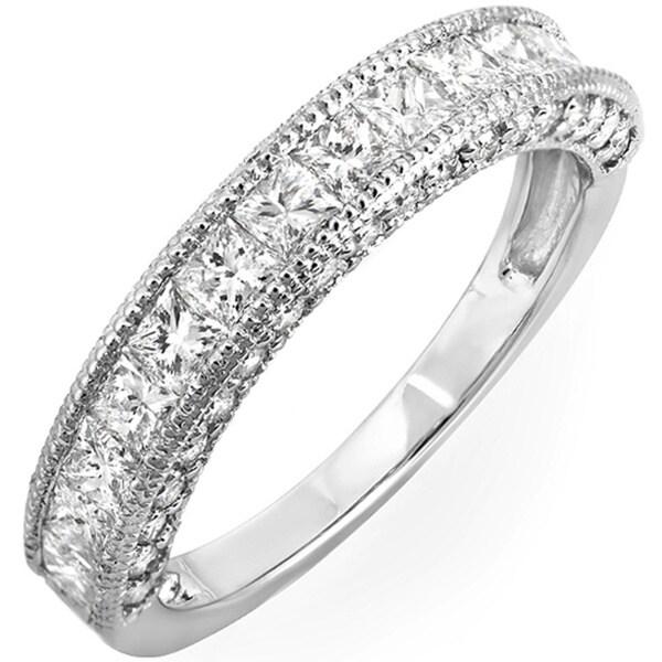 14k White Gold 1 2/5ct TDW Princess Channel-set Milgrain Diamond Wedding Band (H-I, I1-I2)