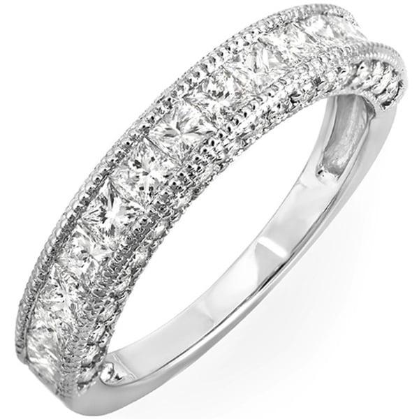 14k Gold 1 2/5ct TDW Princess Channel-set Milgrain Diamond Wedding Band (H-I, I1-I2)