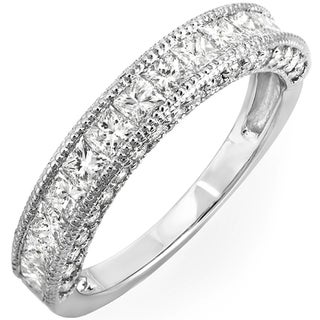 14k White Gold 1 2/5ct TDW Princess Channel-set Milgrain Diamond Wedding Band (H-I, I1-I2)