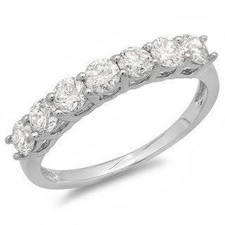 14k White Gold 1ct TDW Round 7-stone Wedding Anniversary Band (H-I, I1-I2)