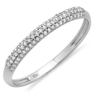 10k White Gold 1/5ct TDW Pave Round Diamond Wedding Band