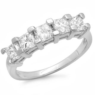 14k White Gold 2ct TDW Princess Cut Diamond 5-stone Wedding Band (H-I, I1-I2)