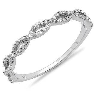 10k White Gold 1/5ct TDW Braided Diamond Wedding Band (I-J, I2-I3)