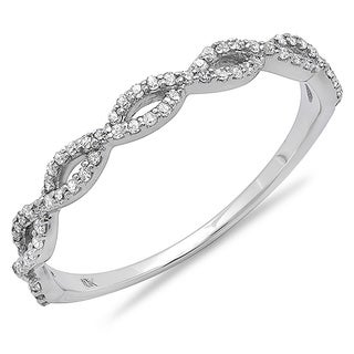 10k White Gold 1/5ct TDW Braided Diamond Wedding Band (I-J, I2-I3)