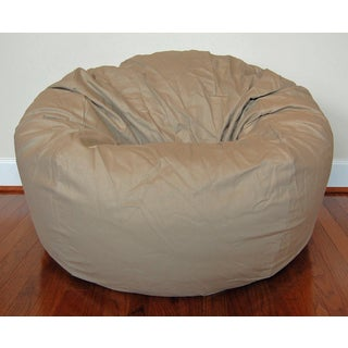 Wide 36-inch Tan Cotton Twill Bean Bag Chair