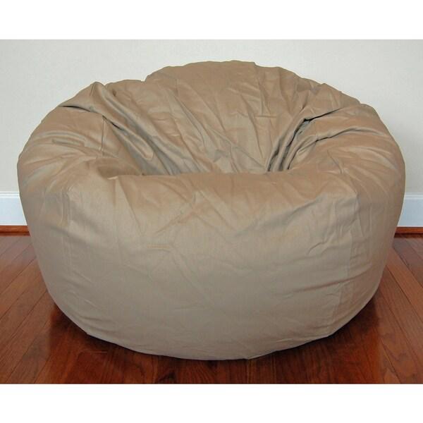 Wide 36-inch Tan Cotton Twill Bean Bag Chair