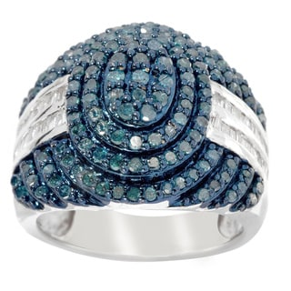 Sterling Silver 1ct TDW Colored Diamond Pave Ring (H-I, I2-I3)