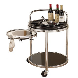 Bottle Holders Black/ Chrome Serving Cart