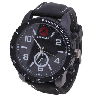 Airwalk Tween Round Black Sport Watch with Rubber Strap