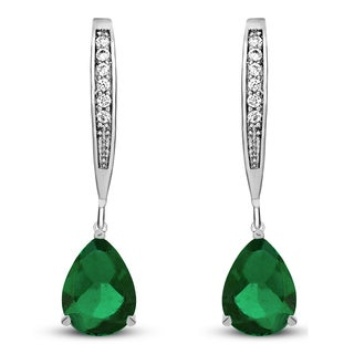 Collette Z Sterling Silver Green Cubic Zirconia Pear-shape Dangling Earrings