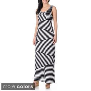 R & M Richards Women's Asymmetrical Layered Striped Maxi Dress