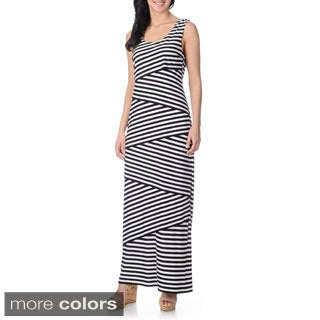 R & M Richards Women's Asymmetrical Layered Striped Maxi Dress