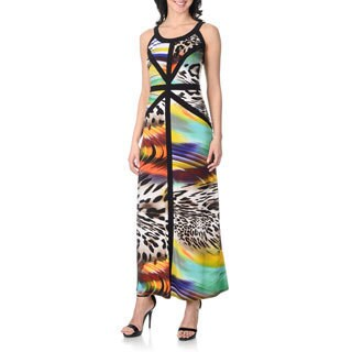 R & M Richards Women's Abstract Animal Print Mapped Bust Maxi Dress