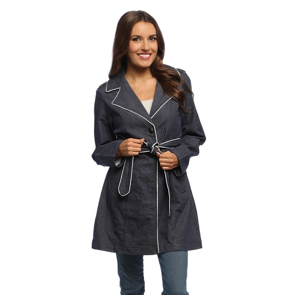 Live A Little Women's Navy Swiss Dots Belted Trench Coat