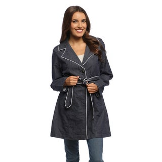 Women's Navy Swiss Dots Belted Trench Coat