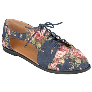 Journee Collection Women's 'Messina-41' Cut-out Lace-up Oxfords