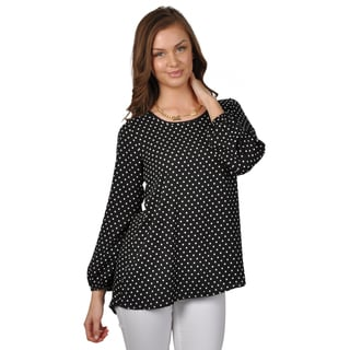 Journee Collection Women's Bow Accent Polka-dot Chiffon Top