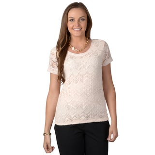 Journee Collection Women's Short-sleeve Lace Knit Top