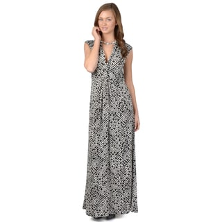 Journee Collection Women's Cap Sleeve V-neck Maxi Dress