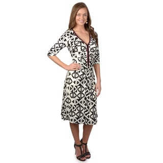 Sangria Women's Half Sleeve Printed Knit Dress