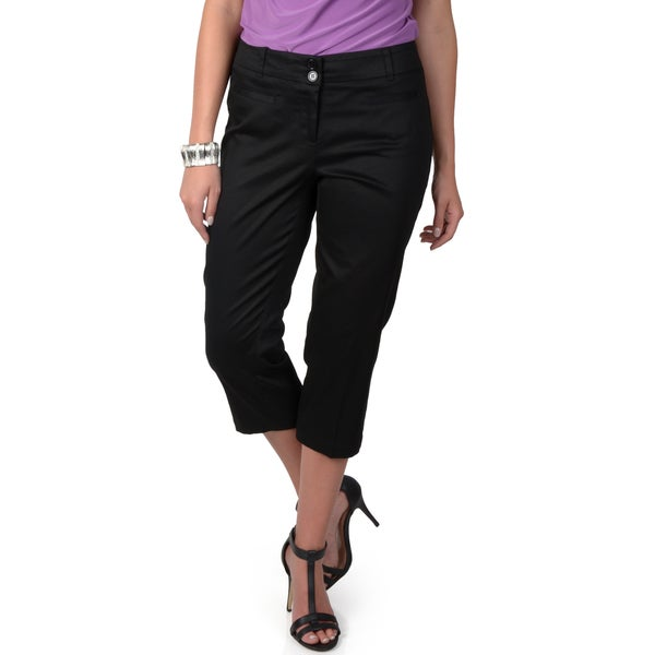 Journee Collection Women's Double Pocket Crop Pants
